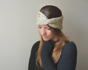 chunky knit twisted turban ear warmer - the DARLINGTON warmers - oatmeal