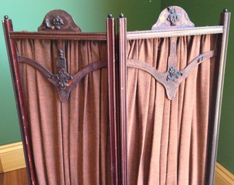 Antique Screen - Wooden with Fabric Panels
