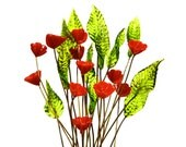 SUPPLY: 12 Flower and Leaf Headpins - Red Flowers - Green Leafs - Millinery - Flower Beads - Frida Kahlo - (8-F2-00007270) OS 9-86