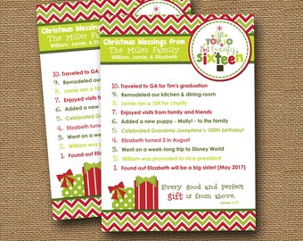 "Christmas Card Top Ten Card DIY PRINTABLE ""Top 10"" Christian Scripture Bible Verse Christmas Card"