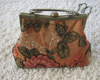 Floral Beaded  small  Orange Evening bag with Metal Frame and handle