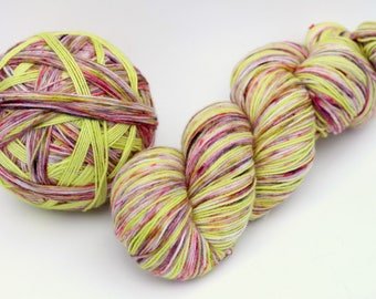 "Self Striping Sock Yarn, Superwash Merino and Nylon 75/25 Fingering Weight, in ""Spring Garden"""