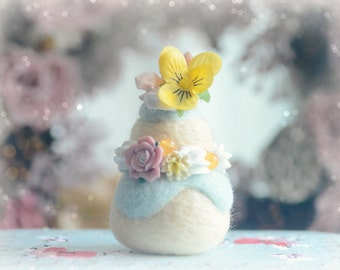 Paris pastry religieuse home decor, needle felted cake ornament, pansy flower blue cream cake, fake pastry food miniature, gift under 20