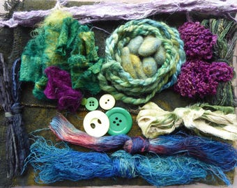 Hope jacare - Creativity pack  - hand dyed threads, fabric and other goodies - CP10