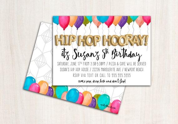 Hip Hop Invitation - Balloon Party Invite  - Printable Party Supplies