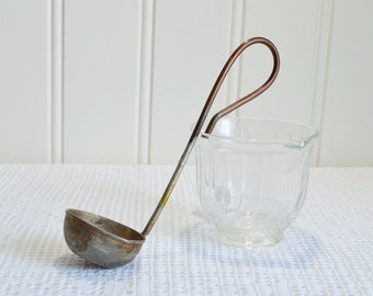 Small rustic metal scoop with handle, vintage Swedish farmhouse utensil