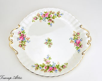 Royal Albert Moss Rose Cookie Plate, English Bone China Cake Plate, Replacement China, ca. 1956-2001