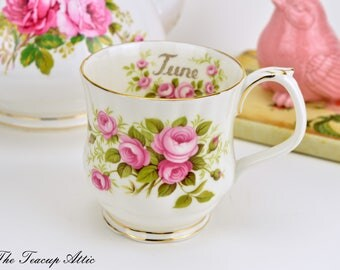 Royal Albert Flowers of the Month June Mug, Vintage English Bone China Mug with June Roses, Birthday Gift,  ca. 1970