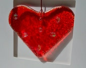 Fused Glass Heart Gift Card Handmade in Ireland with Love Hanging Suncatcher Friendship Thank You Wedding Favor Engagement Congratulations
