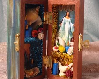 Small Yemaya Box Shrine.  Small Nicho. Travel Altar. Yemoja