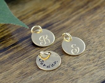 Add On, 14 kt Gold Disc, Name Disc, Personalized Charm, Initial Charm, Ala Carte - Hand Stamped Charm - Handstamped Name - Add On Option