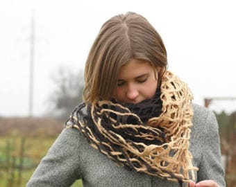 Women infinity scraf - beige brown felted scarf - made to order