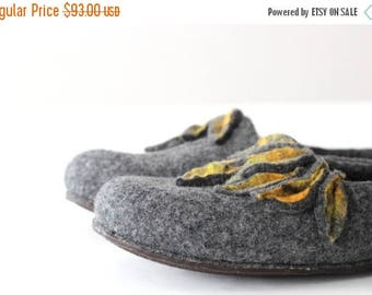 Felted wool slippers - women house shoes from gray merino wool with yellow mustard leaves - made to order - gift for her - Mothers day gift