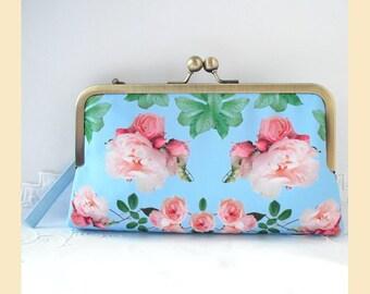 Clutch bag, wristlet, blue purse, bridal clutch bag, evening purse, wedding clutch, pink roses