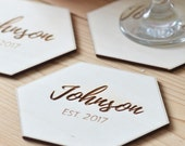 Personalized hexagon coasters -Personalized gift -wedding favors, engraved geometric wooden coasters