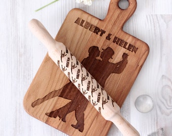 Custom Cutting board and rolling pin - Dancing couple Wooden Laser Engraved - Personalized Engraved