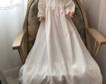 Doll long dress, slip & bonnet