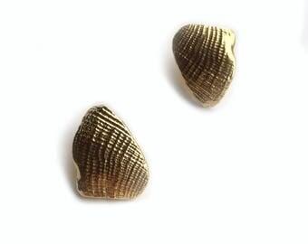 Lucina Studs // Brass Shell Earrings
