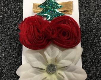 Holiday hair clips, red shabby bow, tree hair clip, white poinsettia, flower hair clips