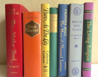 Rainbow of Vintage Books Collection Red Yello Orange Green Blue Purple Home Decor Set
