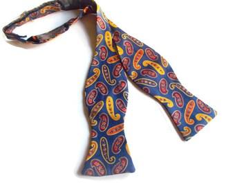 Paul Stuart Bow Tie Silk Paisley Print Self Tie 1980s