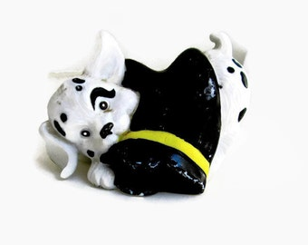 Vintage Dalmatian Puppy Enesco Firehouse Figurine Playing with a Black Boot 1991