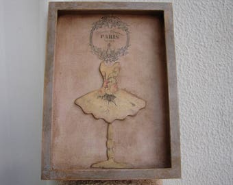 shabby French roses,dress form,mannequin,Haute Couture,gruny pink & grey painted decorative frame, wall hanging