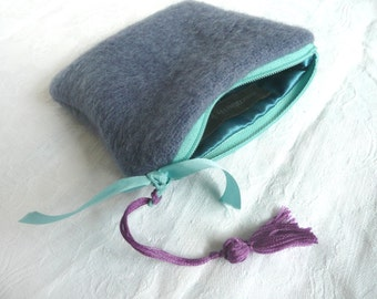 Blue wool purse - hand dyed wool mini purse - wool mini pouch with tassel - hand made wool coin purse - hand dyed wool pouch