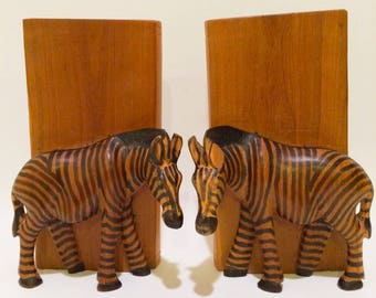 Hand Craved Kenya Zebra Bookends