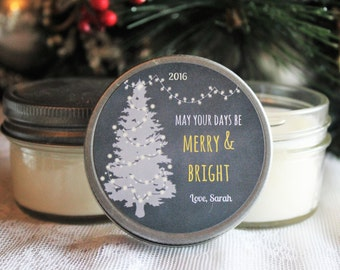 Holiday Candle Favor / Gold & Silver Christmas / Set of 12 - 4 oz. Soy Candle Favors / Personalized Holiday Gift / Christmas Party Favor