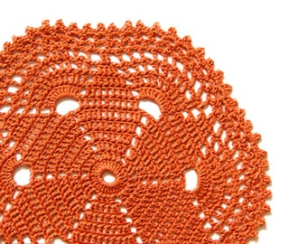 Brown rust  Crochet Vintage Doily doily