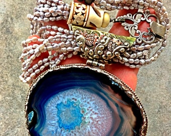 Huge massive agate carved bone fish pearl necklace bohemian statement assemblage