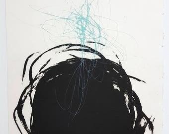 Large Minimalist Print. Expressionist Printmaking Art. Abstract Printmaking. Drypoint Print. Circle Collograph Print. Original Fine Art.