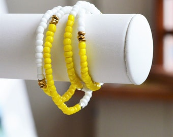 African Stackable bracelet, African beaded bracelet,  Bead stretch bracelet, Yellow bracelet, African beaded bracelet, gift for her, beaded