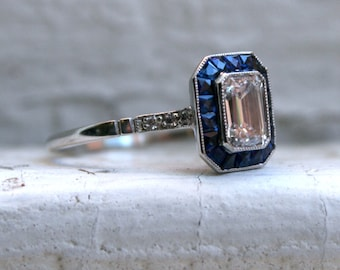 RESERVED - Vintage Art Deco Platinum Emerald Cut Diamond and Sapphire Engagement Ring - 2.10ct.