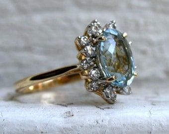 RESERVED - Beautiful Vintage 18K Yellow Gold Aquamarine  and Diamond Halo Ring - 4.64ct.