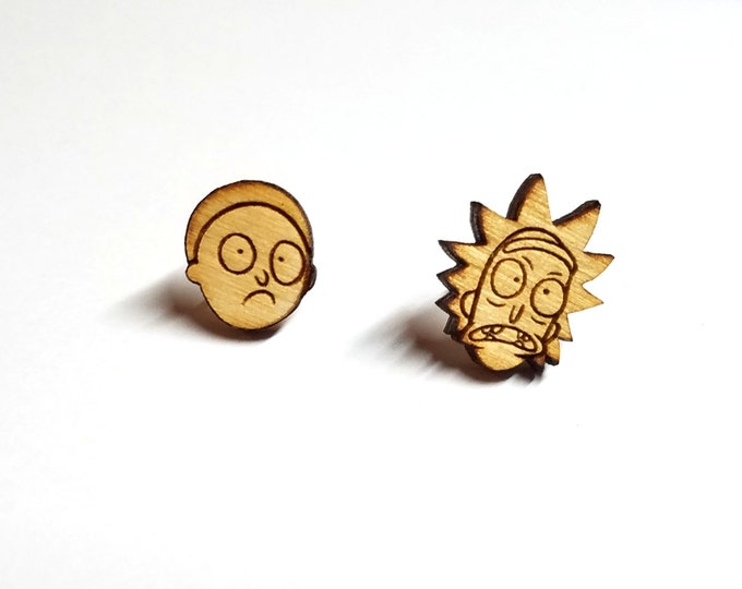 Rick and Morty Earrings | Laser Cut Jewelry | Hypoallergenic Studs | Wood Earrings