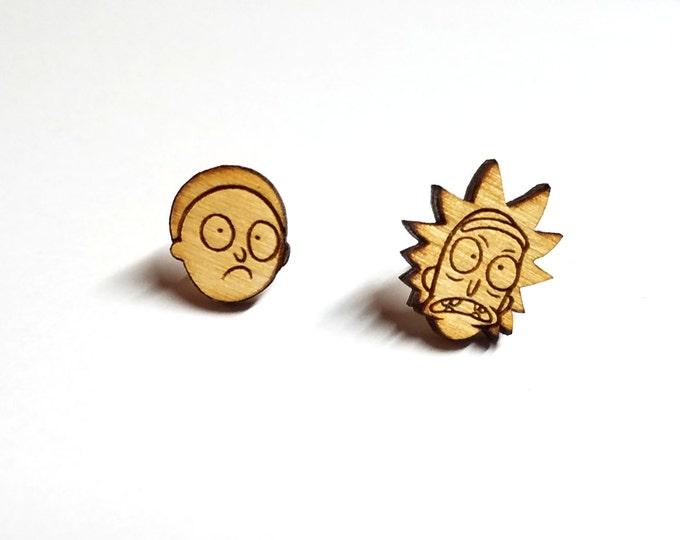 Rick and Morty Earrings | Laser Cut Jewelry | Hypoallergenic Studs | Wood Earrings