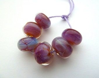 handmade kalypso pink lampwork glass beads UK set