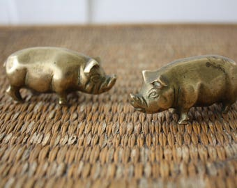 Pair of brass pigs, two small brass pigs, brass animals, brass figurines, childs decor, childrens room