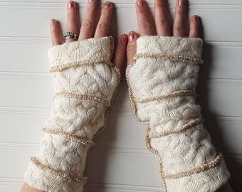 Teen Small adult size Arm warmers, fingerless gloves, upcycled sweaters, wrist warmers, wool free, upcycled gloves, repurposed, patchwork