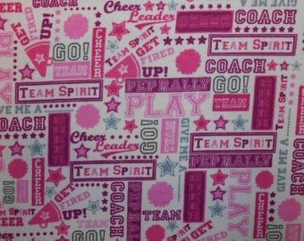 Snuggle Flannel Fabric - Cheer Words - 34 inches