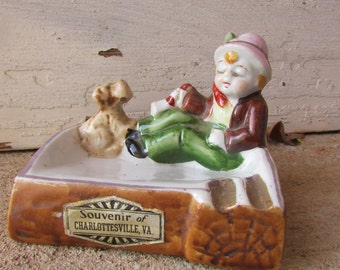 Vintage souvenir Charlottesville VA ashtray with little wine drinking boy and dog