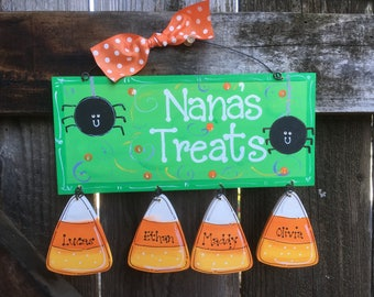 CANDY CORN Personalized sign Halloween Gift Decor Wooden Hand crafted painted Jack o Lantern Custom Trick or treat