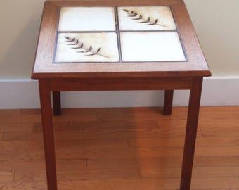 Vintage Mid Century Danish Modern Mobelfabrikken Toften Denmark Tile Top Table~Fern Motif