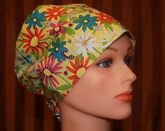 Tie Back Scrub Hat/Chemo Hat/Womens scrub hat/Surgical Scrub Hat/Scrub cap--Spring Flair
