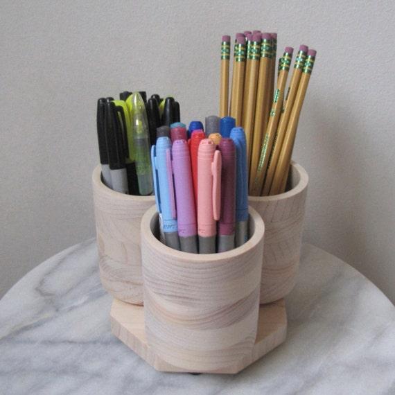 3 cup desktop rotating pencil pen marker storage holder for Paint pens for wood crafts