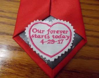 Personalized custom made Embroidered Men's Wedding Tie Label Patch Dad Groom