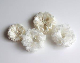 4 Bridal Ivory Fabric Flowers Embellishment