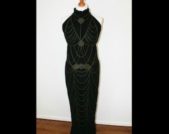 Chain dress , bodychain, chain outfit, mata hari, burlesque, harnesschain, One of a kind. Elegant Curiosities